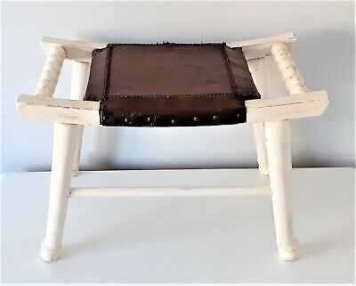 Foot Stool with Leather Seat