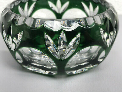 Val St Lambert Vintage Bowl Green to Clear Cut Glass