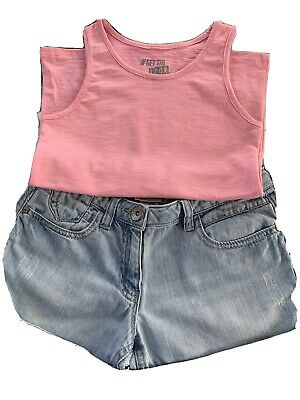 Girls Denim Shorts And Pink Vest Top Age 8-9