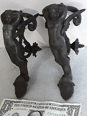 2 vintage figural Angels Curtain Tie Backs heavy bronze or brass pair