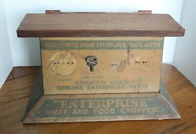 Vintage ENTERPRISE Meat Grinder Store Display  Metal Cabinet Food Chopper Parts