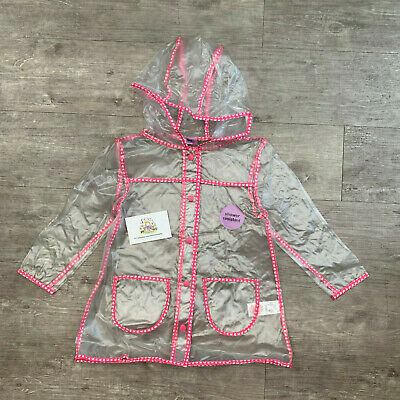 F&F Girls Clear Raincoat Transparent Coat Rain Mac Summer Jacket Kids Childrens