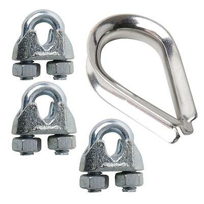 SecureLine 1/16in. WIRE ROPE CLIP & THIMBLE SET 7317S~Zinc Plated Protection~NEW