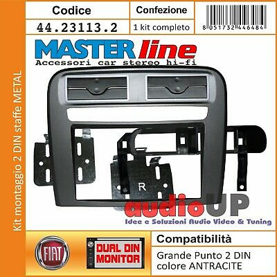 Mascherina Radio 2 Din Fiat Grande Punto Kit Montaggio Perfect Fict Antracite