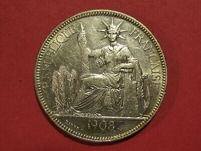 French Indo-China 1908-A 1 Piastre Silver Coin