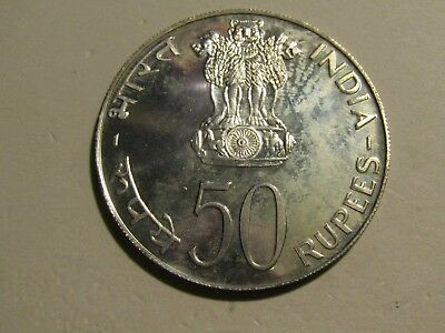 India 1974 50 Rupees Silver unc Coin
