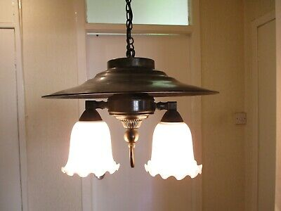 Vintage Art Deco Period Brass Ceiling Light With Glass Shades