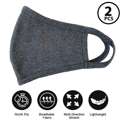 2 Pack Face Mask Double Layer Cotton Washable Reusable Dark Gray Unisex Made USA