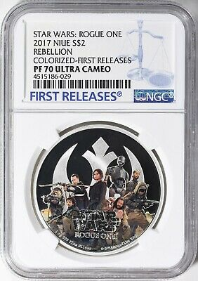 2017 Niue Silver Star Wars Rogue One - Rebel Alliance - Ngc Pf70 First Releases