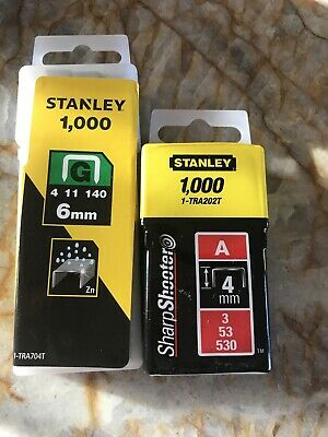 Stanley 1000 Staples G 6mm And 1000 Staples A 4mm New