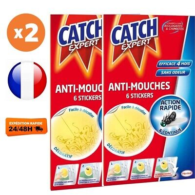 x2 CATCH Stickers Anti-Mouches - Lot de 12 Stickers Jaunes