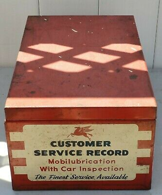 Vintage Mobil Customer Service Reord Metal Box