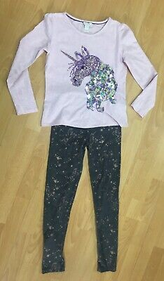 Girls Monsoon Unicorn Outfit Pink Sparkly Top And Grey Leggings Set - Age 11-12