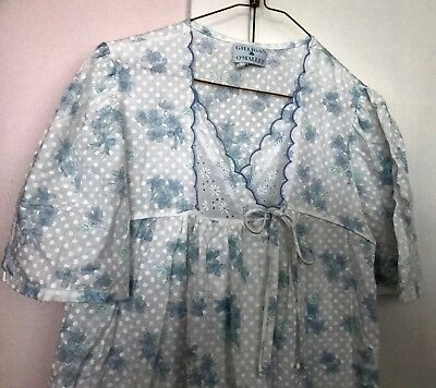 GILLIGAN & O'MALLEY ~ Eyelet Lace Nightgown Robe White with Blue Flowers- Sz. M