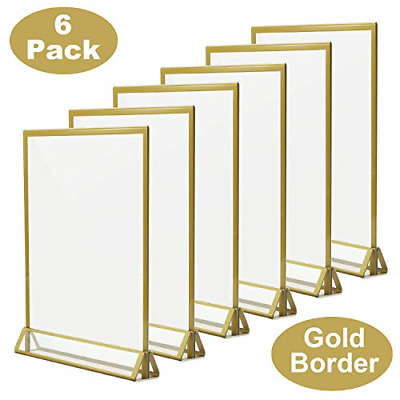TOROTON Clear Acrylic Sign Holder with Gold Borders and Vertical Stand, 8.5 x 11