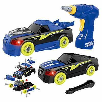 GILOBABY Kids Take Apart Toy Racing Car, 2 IN 1 Construction Build Your Own Car