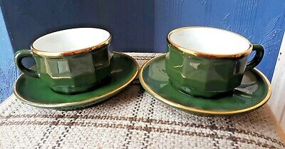 Genuine Apilco Green And Gold Bistro Small Coffee Cups And Saucers X 2