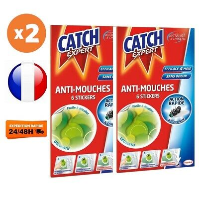 CATCH Stickers Anti-Mouches - Lot de 12 Stickers Verts (Lot de 2 x 6 stickers)