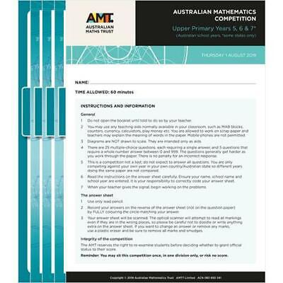 AMC Australian Mathematics Competition Past Papers year 3-12, $2 /paper in PDF