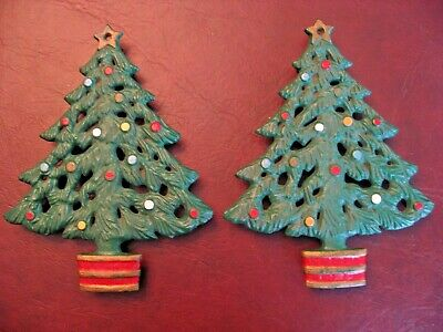 Lot of 2 Cast Iron Christmas Tree Trivets Painted Green with Ornaments and Stand