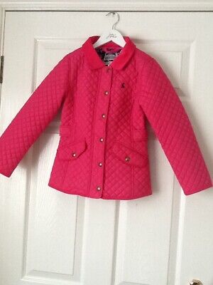 Girls Joules bright pink quilted jacket age 7-8 years