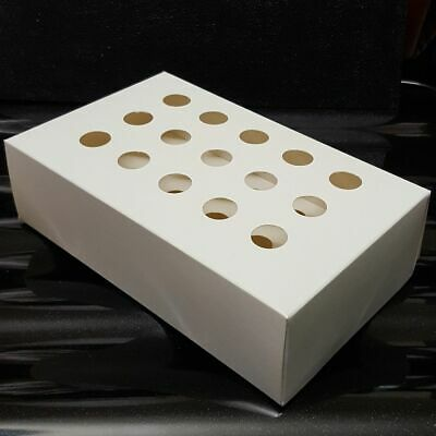 White Cardboard Rack / Tray to hold 16-17 mm Tubes holds 15 tubes