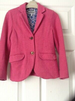 Girls Joules pink tweed-effect soft blazer age 8 years