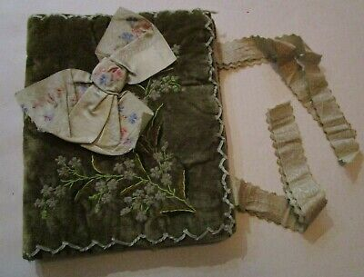 Antique Handmade Padded Velvet Fabric Embroider Ribbon Book Bible Cover