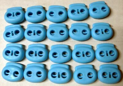 """20 Blue (3/16"""" or 5mm STRING ONLY) Dual Hole Spring Cord lock Barrel Toggle"""