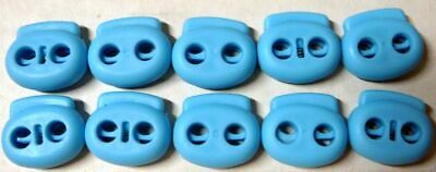 """10 Blue (3/16"""" or 5mm STRING ONLY) Dual Hole Spring Cord lock Barrel Toggle"""