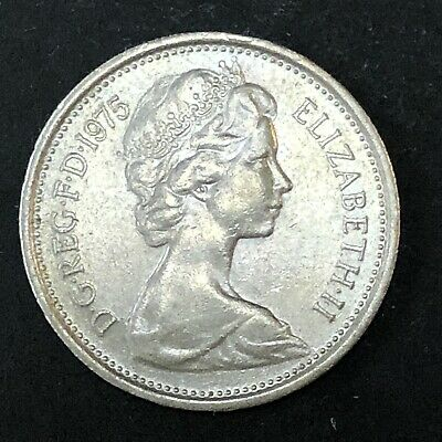 UK 5 Five New Pence 1975 Great Britain Foreign Coin