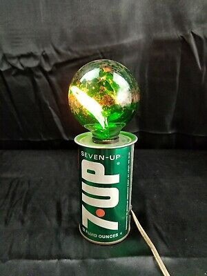 Vintage 70s 7UP Base GROOVY Steel Can Lamp Green Flicker Bulb Balafire Bar Light