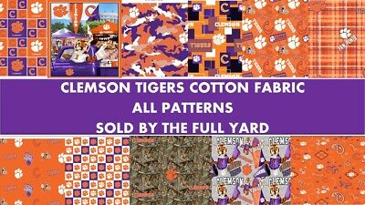 Clemson University Tigers Cotton Fabric-Sold by the Full Yard-ALL PATTERNS