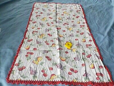"vintage cotton kitchen towel w fruit design & hand crochet edges 16"" x 28"""