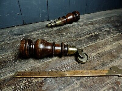 Pair of Antique Victorian Turned Mahogany Legs & Cup Castors