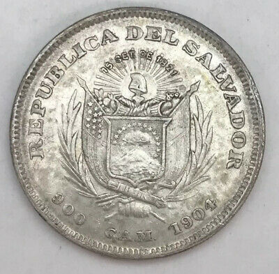 1904 El Salvador Un Peso Silver About Uncirculated Original Never Cleaned