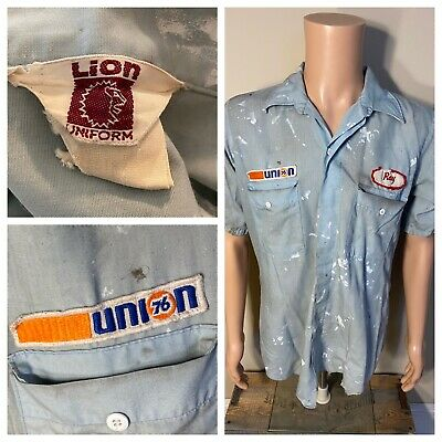 Vintage Union 76 Gas Station Attendant Lion Uniform Ray Employee Thrashed rare