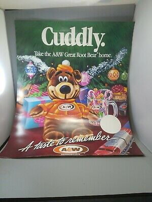"A &W Root beer collectibles advertising poster new old stock 28""×22"" 1987"