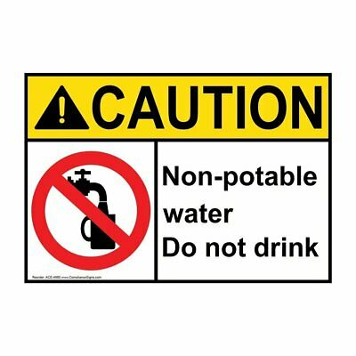 ComplianceSigns Vinyl ANSI CAUTION label, 5 x 3.5 in. with Drinking Water...