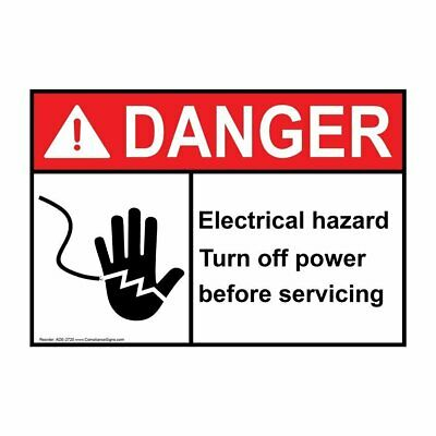ComplianceSigns Vinyl ANSI DANGER Label, 5 x 3.5 in. with Electrical Warning...