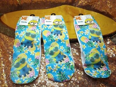 Despicable Me Minion Socks  3 Pairs Kids UK  6-8 Ankle Style. New UNISEX Pineapp