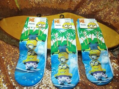 Despicable Me Minion Socks  3 Pairs Kids UK  6-8 Ankle Style. New UNISEX