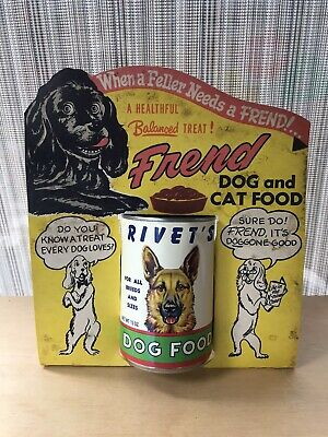RARE 1950s NOS DOG FOOD CAN COUNTER TOP DISPLAY DOGS&CATS PETS ANIMALS 👀LQQK👀