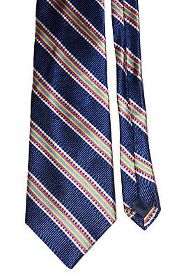 All Silk Tie Navy Blue Striped Men Necktie Hand Sewn Classic BCBG ATTITUDE