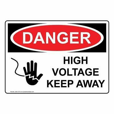 ComplianceSigns Vinyl OSHA DANGER Label, 5 x 3.5 in. with Electrical High...