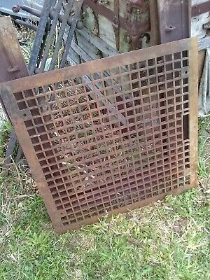 "Antique LARGE HEAVY Cast Iron 26-3/8"" Sq. Floor Grate Register"