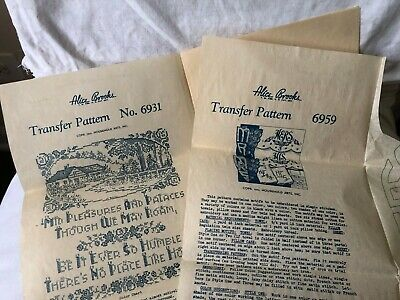 Two VTG 1940s Alice Brooks Mail Order Embroidery Cross Stitch Transfer Patterns