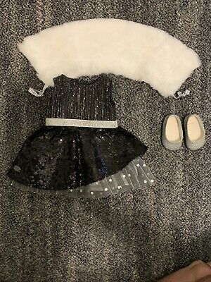 """American Girl TM BLACK SPARKLE OUTFIT for 18"""" Dolls Truly Me Silver Wrap NEW"""