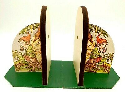 Vintage Children's Fairy Fantasy Bookends Kids Room Decor Fairy Playing Panpipes