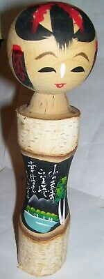 Japan Kokeshi Painted Folk Art Wooden Doll Geisha Girl Lake Scene Japanese words